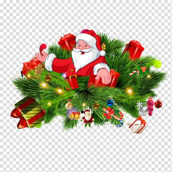 Christmas tree Branch Gift, Santa Claus transparent background PNG clipart png image transparent background