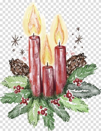 Cartoon hand-painted Christmas Candles transparent background PNG clipart png image transparent background
