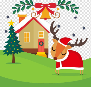 Cartoon outskirts red Christmas deer transparent background PNG clipart png image transparent background