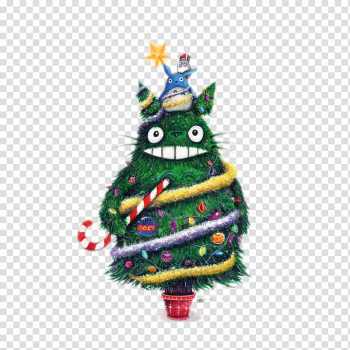 The Starry Night Catbus Christmas Studio Ghibli Painting, Chinchilla Christmas tree transparent background PNG clipart png image transparent background