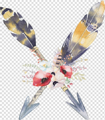 Red and white poppy flowers and gray-and-yellow feathers illustration, Bohemianism Feather, Bohemian transparent background PNG clipart png image transparent background
