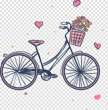 Black city bike , Raleigh Bicycle Company Bicycle frame Hybrid bicycle Giant Bicycles, Pink bikes and flower baskets transparent background PNG clipart png image transparent background