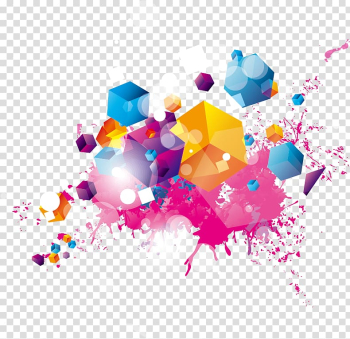 Yellow, pink, and blue abstract painting, Color Illustration, Colorful Cube transparent background PNG clipart png image transparent background