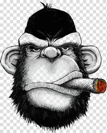 Gorilla head illustration, T-shirt Hoodie Cigar Monkey Iron-on, Black Gorilla transparent background PNG clipart png image transparent background