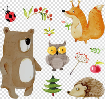 Assorted animals illustration, Animal Euclidean Icon, painted animals transparent background PNG clipart png image transparent background