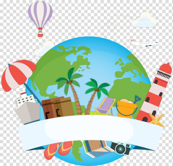 Travel-themed illustration, Maldives Travel Tour guide Vacation, Blue Earth and Balloon transparent background PNG clipart png image transparent background
