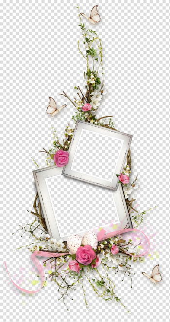 Pink flowers Floral design, Butterfly flower vine border, two white frames surrounded by pink and white flowers transparent background PNG clipart png image transparent background