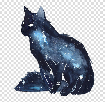 Blue and black cat illustration, Cat Kitten Galaxy Watercolor painting Dog, Star Fox and creative ideas transparent background PNG clipart png image transparent background