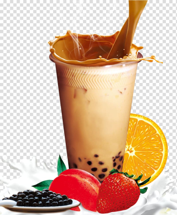 Clear drinking glass and fruits , Hong Kong-style milk tea Bubble tea, Pearl milk tea transparent background PNG clipart png image transparent background