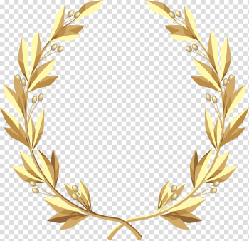 Brown wreath logo, Laurel wreath Gold , painted golden wheat transparent background PNG clipart png image transparent background