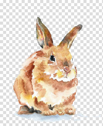 Brown rabbit painting, Hand-painted rabbit transparent background PNG clipart png image transparent background