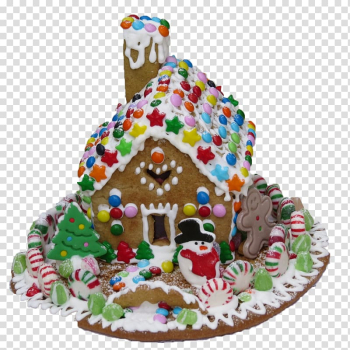 Gingerbread house Icing Christmas Pastry, Christmas Candy Gingerbread House transparent background PNG clipart png image transparent background