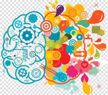 Orange, yellow, and teal brain illustration, Your Creative Brain Creativity Lateralization of brain function , Blue color creative brainstorming ideas transparent background PNG clipart png image transparent background
