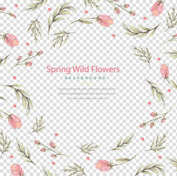 Pink flowers with spring wild flowers text overlay, Floral design Flower Watercolor painting, watercolor flower plant transparent background PNG clipart png image transparent background
