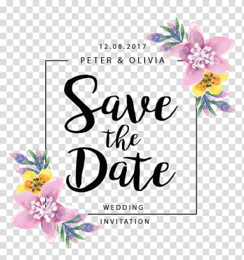 Wedding Save the date, Flowers border, Save The Date advertisement transparent background PNG clipart png image transparent background