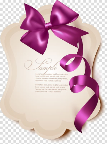 Romance Girlfriend SMS Gift, Hand-painted stationery purple lace bow transparent background PNG clipart png image transparent background