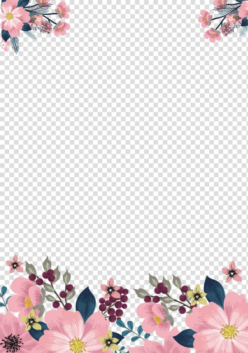 Flower , Hand painted pink borders, pink and green floral frame on white background transparent background PNG clipart png image transparent background