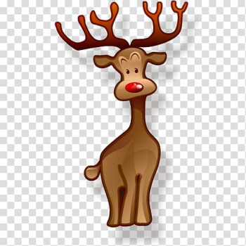 Rudolph Santa Claus Reindeer Christmas Icon, Brown deer transparent background PNG clipart png image transparent background