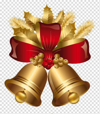 Christmas decoration Jingle bell Gold, Golden and Red Christmas Bells , brown and red bell illustration transparent background PNG clipart png image transparent background