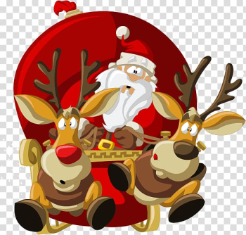 Santa Claus Village Reindeer Christmas , Santa and elk transparent background PNG clipart png image transparent background