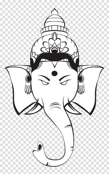 Black and white Ganesha , Ganesha Hinduism Deity Symbol , Black and white lines like God head illustrations transparent background PNG clipart png image transparent background