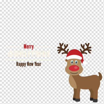 Santa Clauss reindeer Rudolph Christmas card, Christmas Rudolph the Red Nose material transparent background PNG clipart png image transparent background