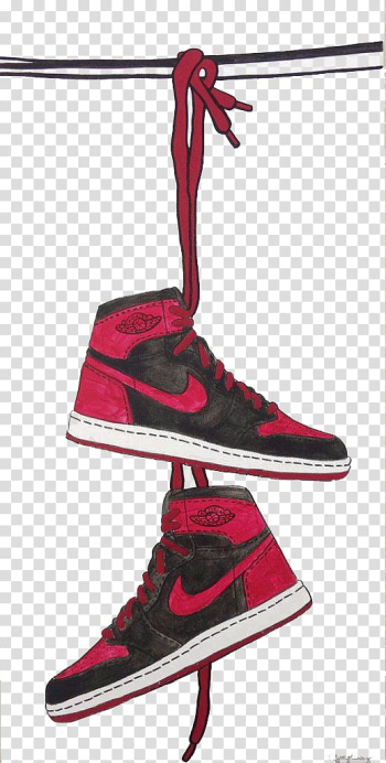 Pair of black-and-red Nike Air Jordan 1 shoes illustration, Jumpman Shoe Air Jordan Sneakers Nike, Hand painted watercolor Nike sports shoes transparent background PNG clipart png image transparent background