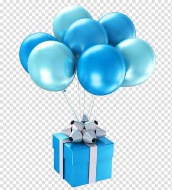 Blue and gray gift box, Balloon Blue Happy Birthday to You Gift, Blue gift balloon transparent background PNG clipart png image transparent background