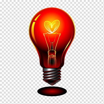 Lit red and gray light bulb illustration, Incandescent light bulb Lamp, red bulb transparent background PNG clipart png image transparent background