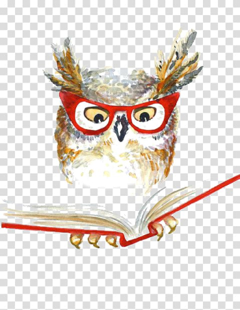 Owl reading book wearing eyeglasses , Owl Drawing Watercolor painting, owl transparent background PNG clipart png image transparent background
