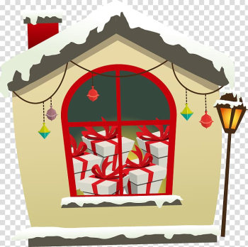 Christmas House Gift, Hand-painted chimney house gift transparent background PNG clipart png image transparent background