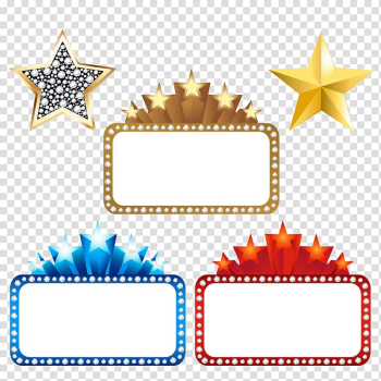 Three brown, blue, and red frames, Marquee Cinema , Movie background transparent background PNG clipart png image transparent background