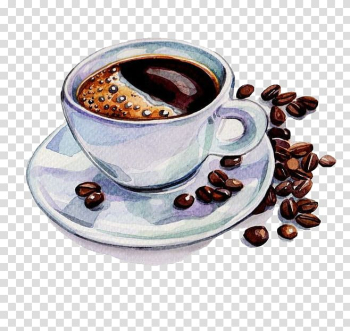 Coffee on cup and saucer, Coffee Tea Cafe Watercolor painting Drawing, Hand-painted watercolor coffee and coffee beans transparent background PNG clipart png image transparent background