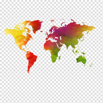 World map , Earth World map Globe, Creative hand-painted watercolor world map transparent background PNG clipart png image transparent background