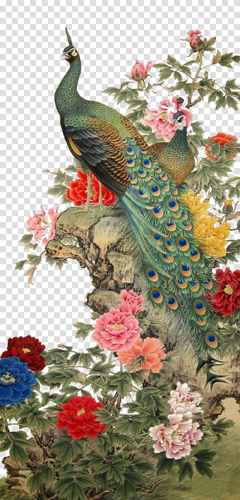 Male peacock on cliff illustration, Chinese painting Gongbi Bird-and-flower painting, birds transparent background PNG clipart png image transparent background
