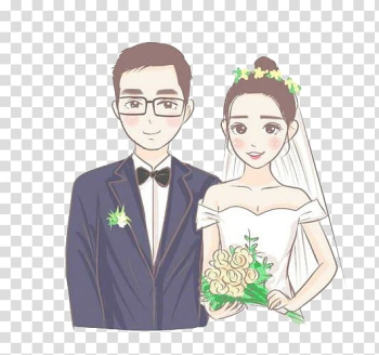 Couple Wedding Marriage, Cartoon couple transparent background PNG clipart png image transparent background