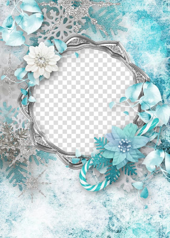Teal petaled flowers, Christmas Paper frame , Flower decoration Christmas flower border transparent background PNG clipart png image transparent background