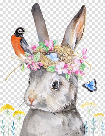 Gray rabbit with flower crown illustration, Holland Lop Rabbit Drawing Illustration, rabbit transparent background PNG clipart png image transparent background