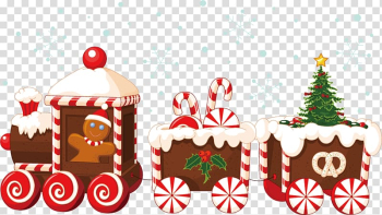 Brown and white train and gingerbread illustration, Train Santa Claus Christmas Gingerbread house, Christmas train transparent background PNG clipart png image transparent background