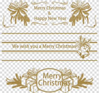 Christmas New Year Computer file, Dark golden Christmas banners transparent background PNG clipart png image transparent background