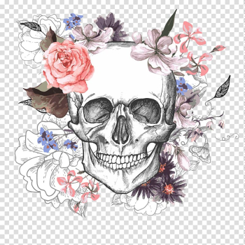 Skull and pink and white flowers illustration, Calavera Skull Flower Day of the Dead, Skull with flowers transparent background PNG clipart png image transparent background