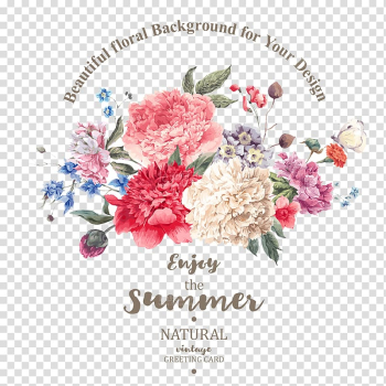 Multicolored flowers Enjoy the Summer illustration, Flower bouquet illustration Illustration, Beautifully hand-painted flowers material plant transparent background PNG clipart png image transparent background