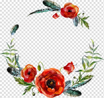 Red and green poppies border, Wreath Flower illustration Illustration, watercolor flower leaf decoration transparent background PNG clipart png image transparent background