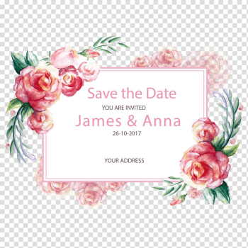 26-10-2017 save the date you are invited James & Anna , Rose Wedding Pink Paper Flower, hand-painted lace decoration transparent background PNG clipart png image transparent background