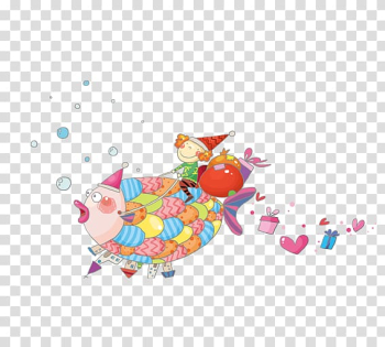 Christmas Cartoon Illustration, Riding a fish gifts transparent background PNG clipart png image transparent background
