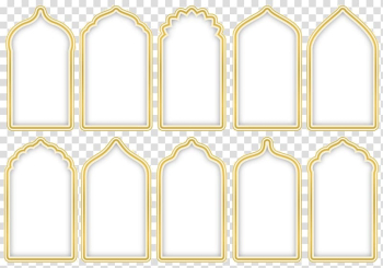 Ten yellow-and-white frames , Islam, Islamic decoration transparent background PNG clipart png image transparent background