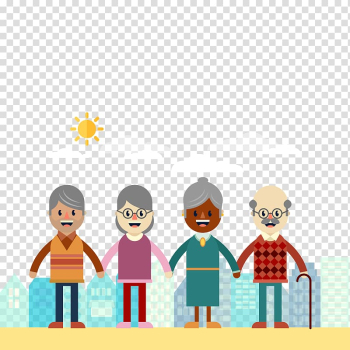 Two girls and two boys holding hands illustration, Old age International Day for Older Persons Aged Care Grandparent, happy elderly transparent background PNG clipart png image transparent background