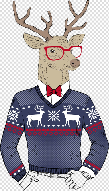 Deer illustration, Reindeer Hipster Christmas Santa Claus, Deer transparent background PNG clipart png image transparent background