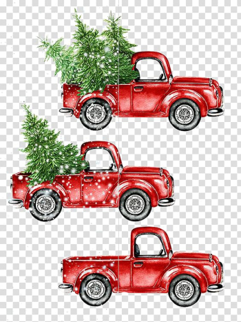 Three red pickup truck christmas design illustration, Car Watercolor painting Christmas, Cartoon car transparent background PNG clipart png image transparent background