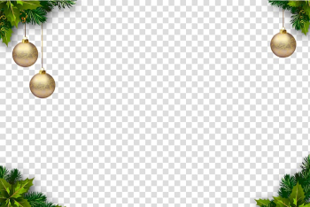 Three gold Christmas baubles , Christmas tree Christmas ornament, Christmas Border transparent background PNG clipart png image transparent background